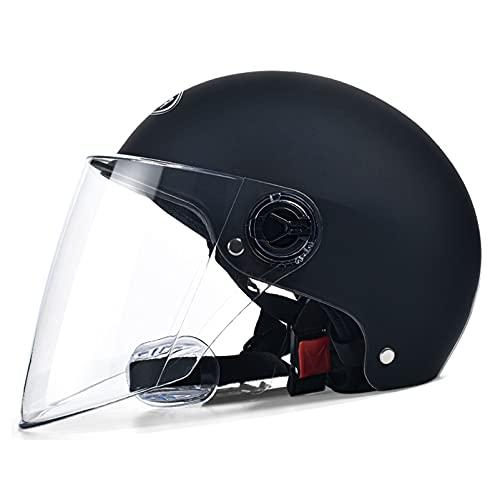 SACKDERTY Medio Casco de Motocicleta de Carreras con Visera Solar, Casco de Ciclismo para monopatín al Aire Libre - Ventilación con Forros extraíbles, Aprobado por Dot