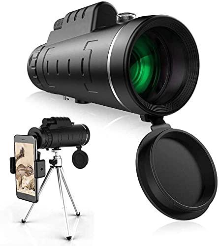 Telescopio Monocular, 12 x 55 HD FMC BAK4 Monoculares de Largo Alcance, con Adaptador de Soporte para Smartphone y trípode para Observación de Aves, Senderismo, Camping, Viajes