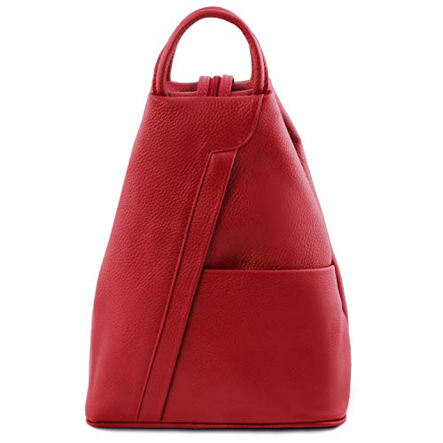 Tuscany Leather Shanghai Zaino in pelle morbida Rosso Lipstick