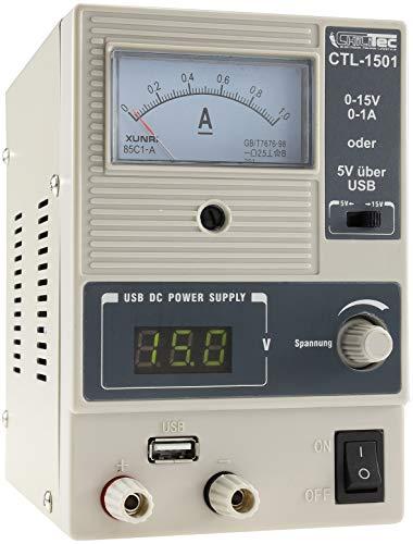 Labornetzgerät mit 2 Anzeigen Spannung 0-15V Regelbar + 5V USB Ausgang I max. 1A 15Watt Kurzschlussfest Überlastschutz