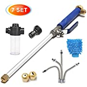 CAVEEN Jet Car Washer Power Hose Nozzle, Magic High Pressure Wand, Flexible Water Hose Nozzle Sprayer Extendable Home Garden Car Washing Glass Window Cleaning (7 Set)