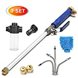 CAVEEN Jet Car Washer Power Hose Nozzle, Magic High Pressure Wand, Flexible Water Hose Nozzle Sprayer Extendable Home Garden Car Washing Glass Window Cleaning (Type A)