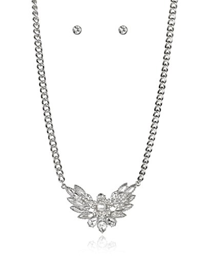 Lux Accessories SilverTone Pearl Rhinestone Necklace Earrings Gift Jewelry...