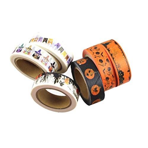 SUPVOX 6 stücke Halloween Washi Tapes Papier Abdeckband für Hand Konto Scrapbooking DIY Büro Party Supplies(Zufällige Farbe)