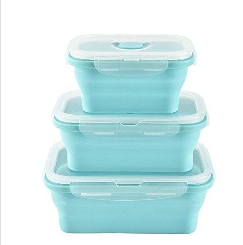 Fiambreras de silicona plegables, 3 unidades, reutilizables, sin BPA, aptas para el congelador y para el horno
