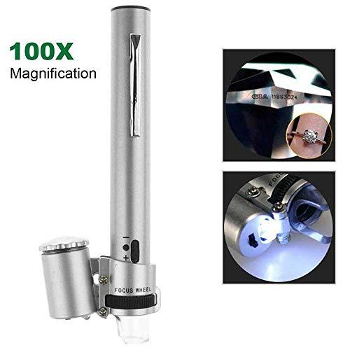 Draagbare Handheld Pen Type Pocket Microscoop met LED Lamp, 100X Zoom HD Microscoop met Verstelbare Focus, Voor Sieraden Appraisal