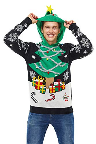 Unisex Women's Ugly Christmas Sweater Hoodie Funny Knitted Xmas Pullover - A Season's Star is Born, Medium
