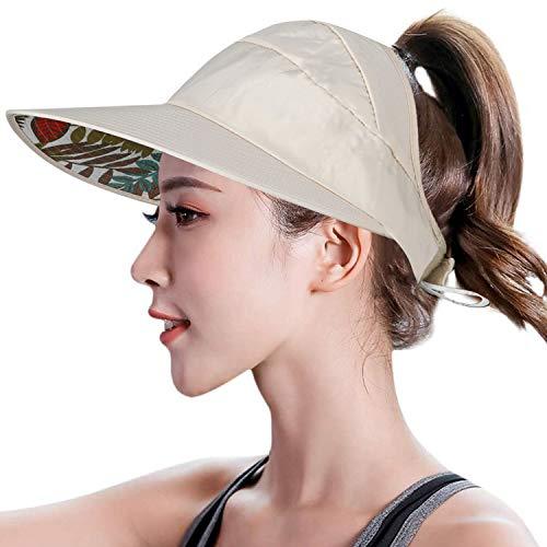 TAGVO Señoras Sombrero para el Sol Mujeres Sombrero de ala Grande Visera Protectora Empaquetable Sombrero de Viaje de Verano Pliegue Enrollable Gorra de Playa