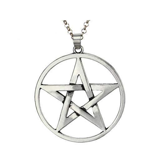 Odoukey Los Hombres de Acero Inoxidable Collar de Plata del Tono Pentagram Estrella Colgante de Cadena