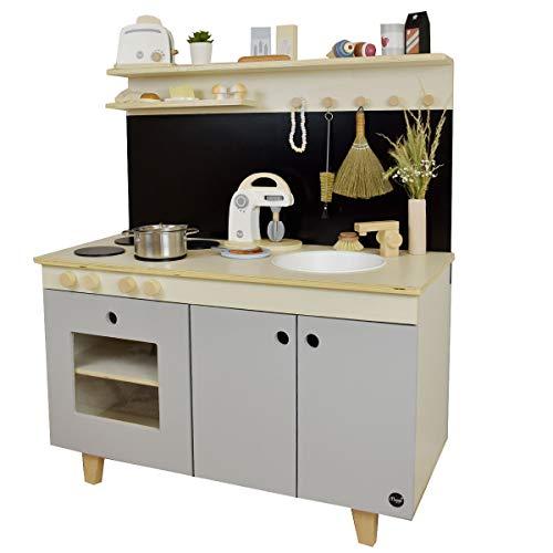 Meppi Kinderküche Malmö, Natur-grau / Spielküche aus Holz / Küche für Kinder