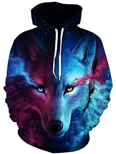 Ocean Plus Herren Kapuzenpullover Lebensecht 3D Grafik Hoodie mit Kängurutasche Pullover mit Kapuze Sweat Hood (L/XL (Brustumfang: 114-134CM), Sternwolf)