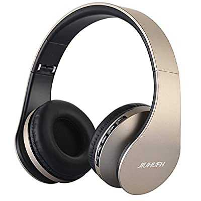 Wireless Headset Over Ear, JIUHUFH Foldable Bluetooth Headphone with Built-in Microphone/MP3 Player/FM Radio/Comfortable Earpads, Supports Hands-Free Calling/Wired Mode for PC/Cell Phones-Golden by JIUHUFH