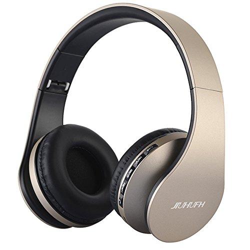 JIUHUFH Auriculares Bluetooth con micrófono Incorporado/Reproductor de MP3/Radio FM/Modo con Cable para PC/Teléfonos celulares-Dorado