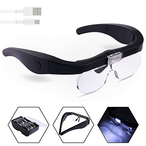 Head Magnifier Glasses with 2 LED Lights, USB Charging Magnifying Eyeglasses for Reading Jewelry Craft Watch Repair Hobby, Detachable Lenses 1.5X, 2.5X, 3.5X,5X