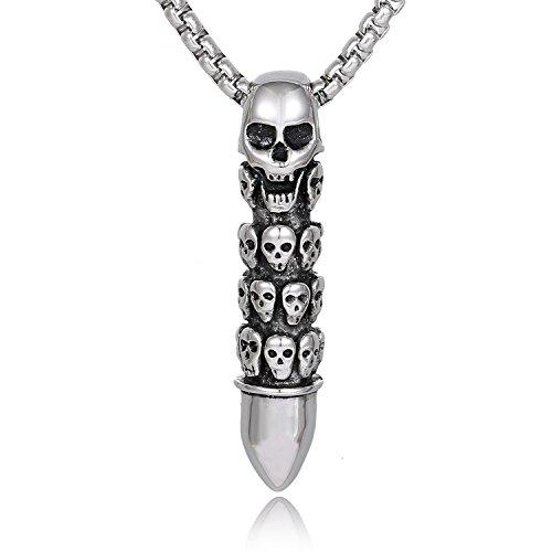 DonDon Herren Halskette 52 cm mit Anhänger Totenkopf - Patrone Edelstahl in einem Samtbeutel