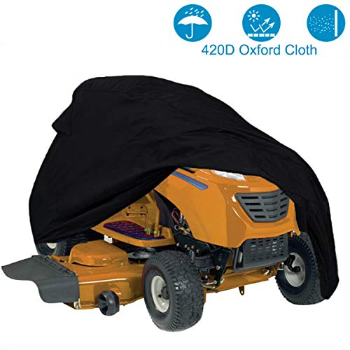 Szblnsm Waterproof Riding Lawn Mower Cover - Heavy Duty 420D Polyester Oxford Fits Decks up to 54', UV Protection Universal Fit Cover Storage Bag