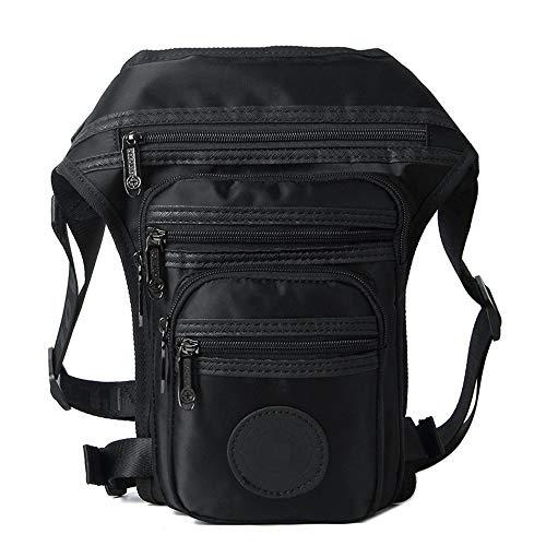 Goodvk Waist Bag Mens Waist Pack Nylon Travel Hiking Climbing Cycling Outdoors Bag Motorcycle Waist Bag Thigh Bag Waterproof Practical and Durable (Color : Black, Size : 18 * 6 * 30cm)