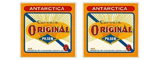Vintage Antarctica Pilsen Bier Aufkleber Cerveja Beer Original Brasilien Sticker / Plus Schlüsselringanhänger aus Kokosnuss-Schale / Auto Motorrad Laptop Notebook Koffer Skateboard Tuning Racing
