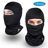 Achiou Balaclava Face Mask UV Protection for Men Women Ski Sun Hood Tactical Masks (Black, 2)