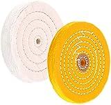 Ruedas de pulido para amoladora de banco Ruedas de pulido de 6 'Rueda de pulido blanca (60 capas) y amarilla (42 capas) para pulidora de tampón de banco con orificio de eje de 1/2' 2 piezas