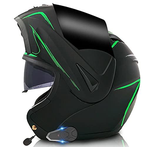Casco de Motocicleta Modular con Bluetooth con Doble Visera Bluetooth Integrado Casco De Moto Casco Integral ECE Homologado, para Mujeres Y Hombres(Color:B,Size:M=57-58CM)