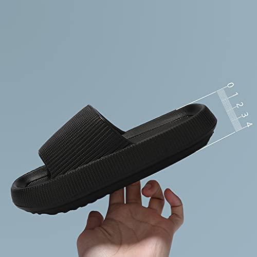 incarpo Unisex Chanclas y Sandalias de Piscina para Mujer Zapatillas Casa Hombre Verano Pantuflas de baño,Negro,36/37