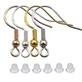 200 PCS/100 Pairs 925 Hypo-allergenic Earring Hooks Fish Hook Ear Wires French Wire Hooks Jewelry Findings Earring Parts DIY Making with 200 PCS Clear Rubber Backs (M506)