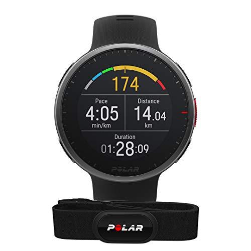 Polar Vantage V2 und H10 – Premium Multisportuhr GPS Smartwatch – Pulsmessung am Handgelenk für Laufen, Schwimmen, Radfahren – Musiksteuerung, Wettervorhersage, Smart Notifications, schwarz, M-L