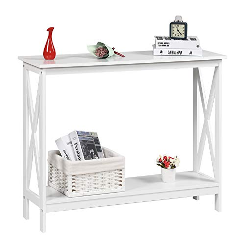 Console Table 2-Tier with Storage Shelf,X-Design Bookshelf Narrow Accent Table for Entryway Hallway Living Room Sofa Side Table (White)