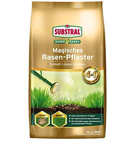 Substral Magisches Rasen-Pflaster, 3in1 Rasenreparatur Rasensamen + Premium Keimsubstrat + Dünger, 3,6 kg