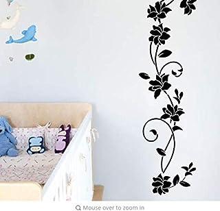 Décor À La Maison Noir Fleur Vinyle Stickers Muraux Réfrigérateur Armoire De Décoration De La Maison Décorations Bricolage...