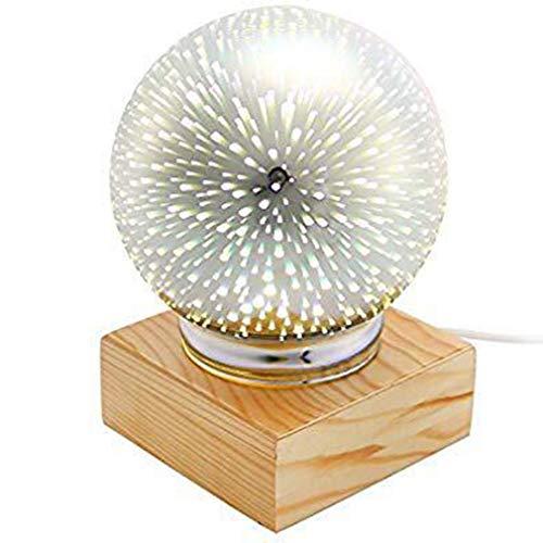 3D Bunte Kristallkugel Kristall Nachtlicht USB Plug-in LED Tischlampe (Feuerwerk)