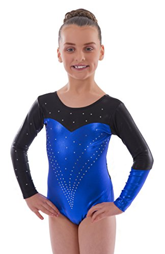 Vincenza Dancewear 'Holly' Blue Metallic, Girls Long Sleeved Leotard for Gymnastics (5-6 Years, 26