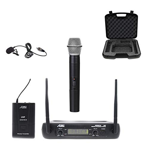 audio 2000s wireless headsets Audio2000s AWM6074 UHF Dual Channel Wireless Microphone System (1 Lapel & 1 Handheld)
