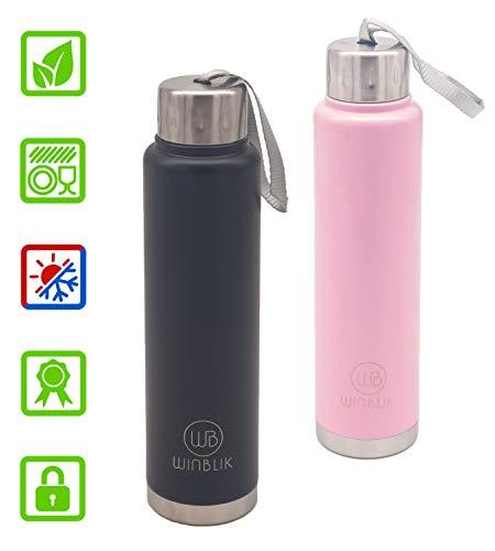 WINBLIK Trinkflasche Edelstahl - Thermosflasche Vakuum Isoliert - Wasserflasche Auslaufsicher - Isolierflasche 12Std Heiß - 24Std Kalt - Sportflasche Kinder, Wandern, Reisen 450ml BPA-Frei; Rosa