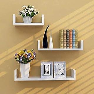 Clover Crafts™ U-Shape Floating Wall Rack Shelves for Living Room Kitchen Book Home Decoration Office (White, Standard)