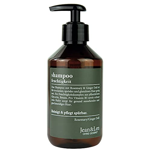 Jean & Len Shampoo Feuchtigkeit, Rosemary & Ginger, Feuchtigkeitsspender für trockenes, sprödes Haar, ohne Parabene und Silikone, 300 ml, 2903100101