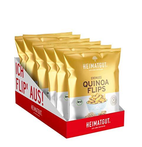 Heimatgut BIO Quinoa Flips Original, Vegan & Glutenfrei, Erdnussflips, 6 x 115g Vorteilspack