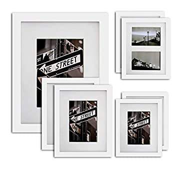 The Display Guys 16x20 Large Gallery Wall Decor Picture Frame Set of 7  White Pine Wood Real Tempered Glass w Collage Mat Boards