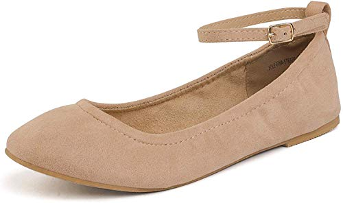 DREAM PAIRS Women's Sole-Fina-Straps Nude Ankle Straps Ballet Flats Shoes - 11 B(M) US
