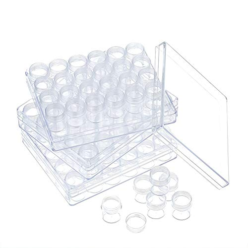 """A&C Minimart Diamond Painting, Bead Storage Plastic Containers: Includes 90 9.5'x6.375""""x1.125' Screw-Top Canisters – For Diamond, Nail Art Supplies, Rhinestones, Jewelry & Other Small Items"""