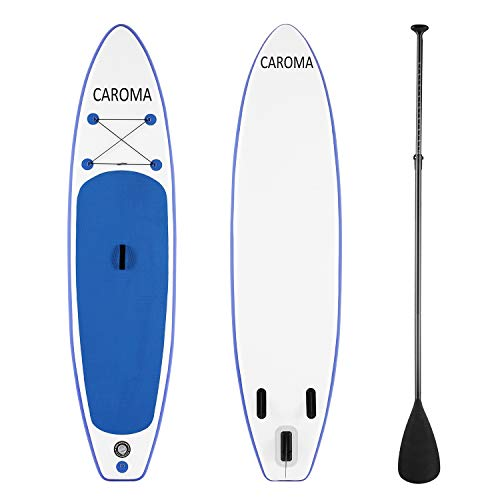 Caroma Premium SUP Inflatable Stand Up Paddle Board Kit|6 inch Thick|126 inch Long | Adjustable Paddle | Carry Backpack | Hand Pump | Ankle Safety Leash