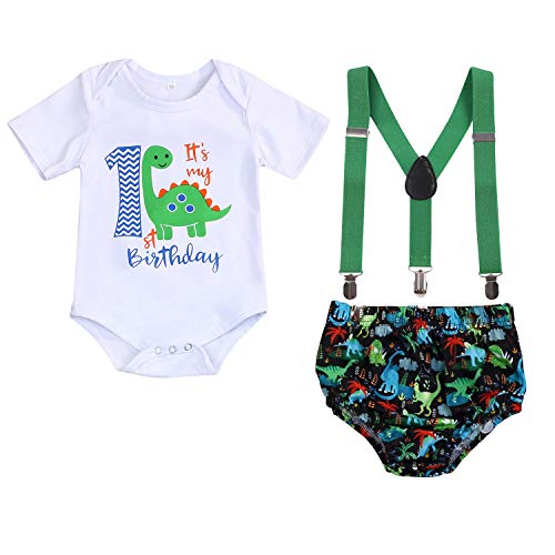 Baby Boys Cake Smash Clothes Dinosaur Bodysuit Diaper Suspenders Pants 3PCS Set First Birthday Outfit for Photo Prop Party (Green, 9-12 Months)