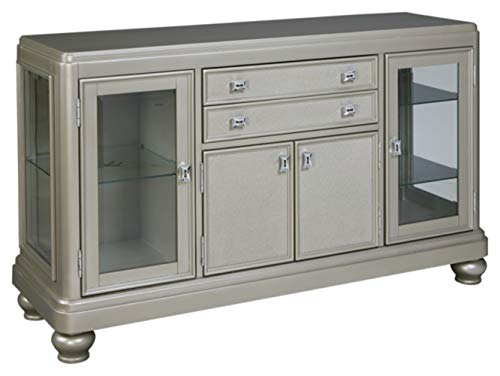 Signature Design by Ashley - Coralayne Dining Room Server - Modern Style - Silver Dining Room Set Sideboard