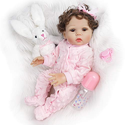 Yesteria Reborn Baby Dolls Silicone Full Body, 18 Inch Realistic Silicone Baby Doll, Lifelike Reborn Doll Girl in Pink Pajamas, with Accessories and Certificate of Adoption