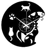 Instant Karma Clocks Orologio da Parete in Vinile Cats Gatto...
