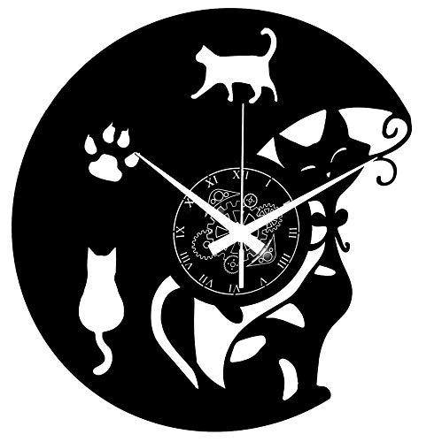 Instant Karma Clocks Orologio da Parete in Vinile Cats Gatto Gatti Design, Vintage, Handmade