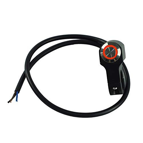 HuiQing Zhang Universal 22 mm 7/8 inch motorfietsschakelaar, montage claxon, stroomvoorziening start, aan-/uitschakelaar met LED-wekker (kleur: zwart (rood licht))
