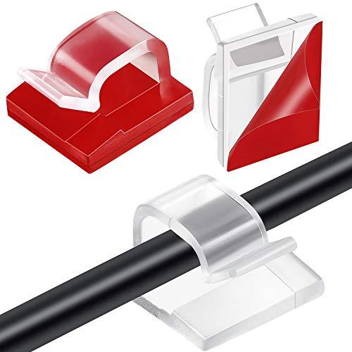 60 Stücke Mini Outdoor Kabel Clips mit Klebebändern Lichtclips Dekoration Clips Selbstklebende Haken Draht Halter für Lichterketten (Klar)