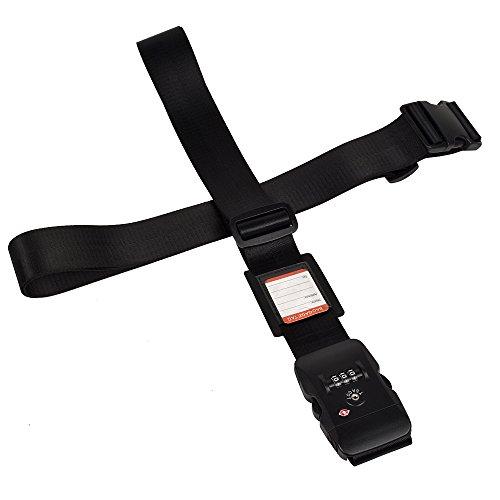 クロース(Kroeus)スーツケースベルト TSAロック ネームタグ 2個セット 十字 長さ調整可 トランクベルト 一字型ベルト 旅行 出張 ブラック